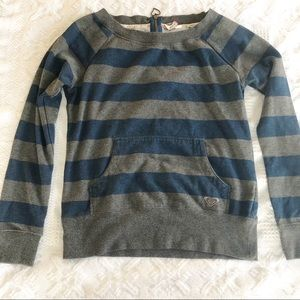 Roxy Back Zipper Striped Blue And Grey Sweater